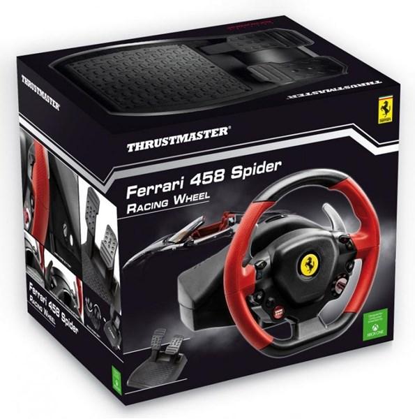 ThrustMaster Ferrari 458 Spider Racing Wheel, rattiohjain + polkimet, Xbox, musta/punainen ...